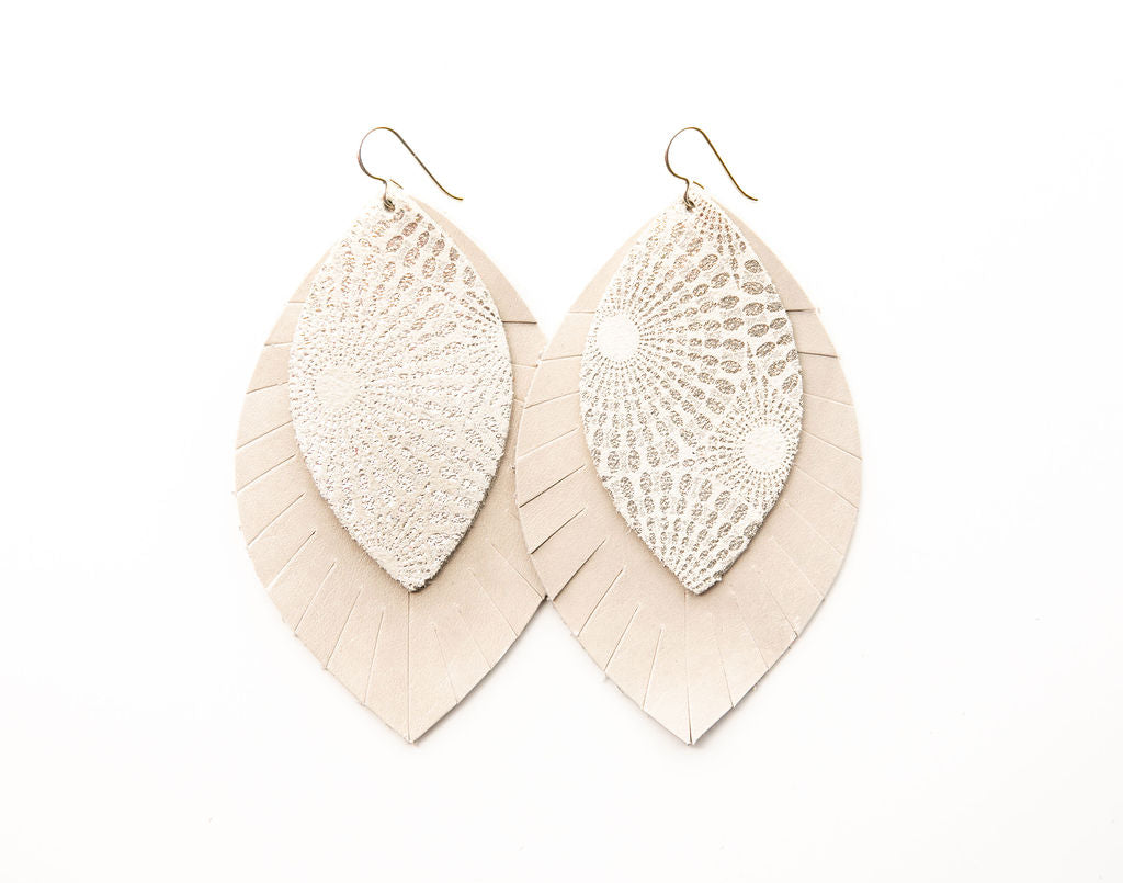Starburst Platinum with Cream Fringe Base | Double Layer Leather Earring