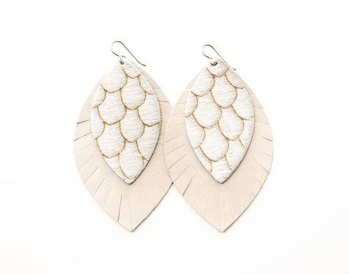 Scalloped in Taupe & Cream with Cream Fringe Base | Double Layer Leather Earring