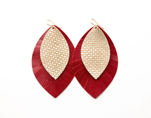 Cobblestone Gold with Red Fringe Base | Double Layer Leather Earring