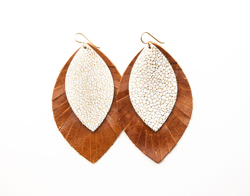 White and Gold Speckled with Brown Fringe Base | Double Layer Leather Earring
