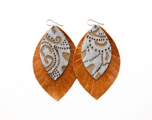 Load image into Gallery viewer, Grey Lace with Brown Fringe Base | Double Layer Leather Earring