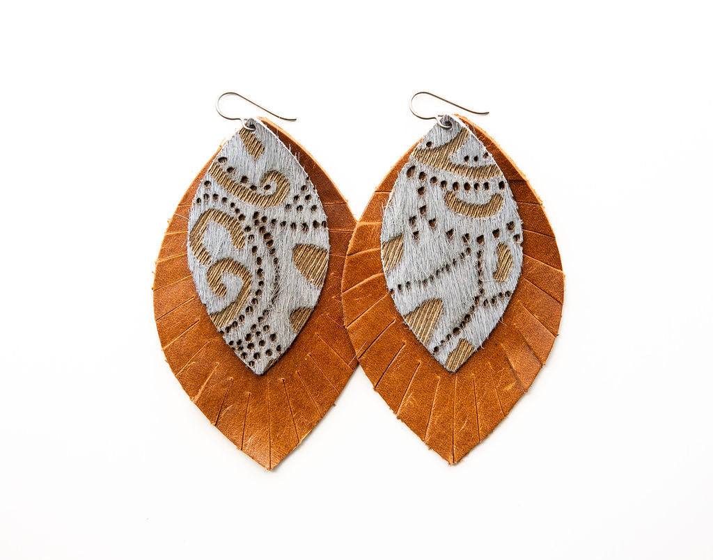 Grey Lace with Brown Fringe Base | Double Layer Leather Earring
