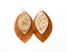 Load image into Gallery viewer, Gold Foil with Brown Fringe Base | Double Layer Leather Earring