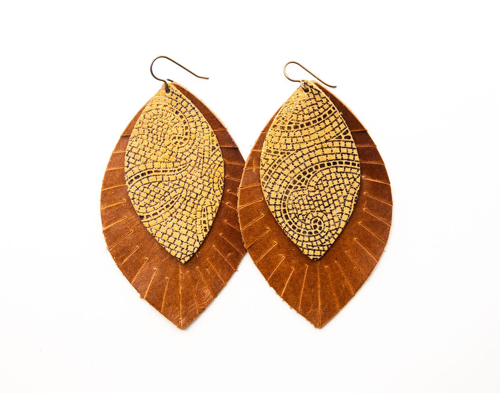 Mosaic Butterscotch and Bronze with Brown Fringe Base | Double Layer Leather Earring