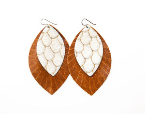 Scalloped in Taupe & Cream with Brown Fringe Base | Double Layer Leather Earring