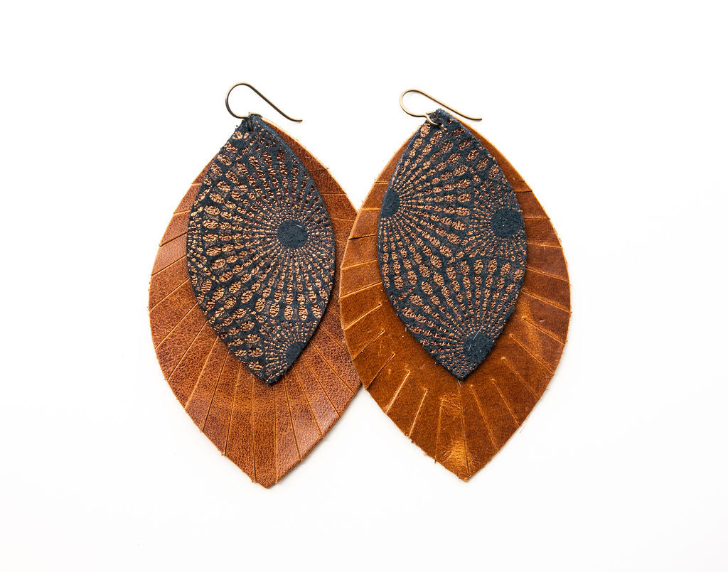 Starburst Blue and Bronze with Brown Fringe Base | Double Layer Leather Earring