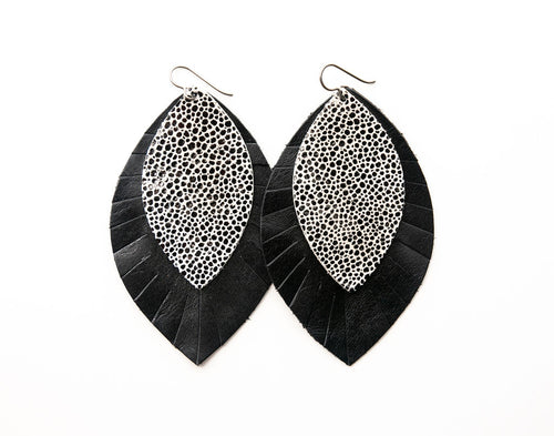 Black on White Speckled with Black Fringe Base | Double Layer Leather Earring
