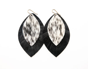Snow Leopard with Black Fringe Base | Double Layer Leather Earring
