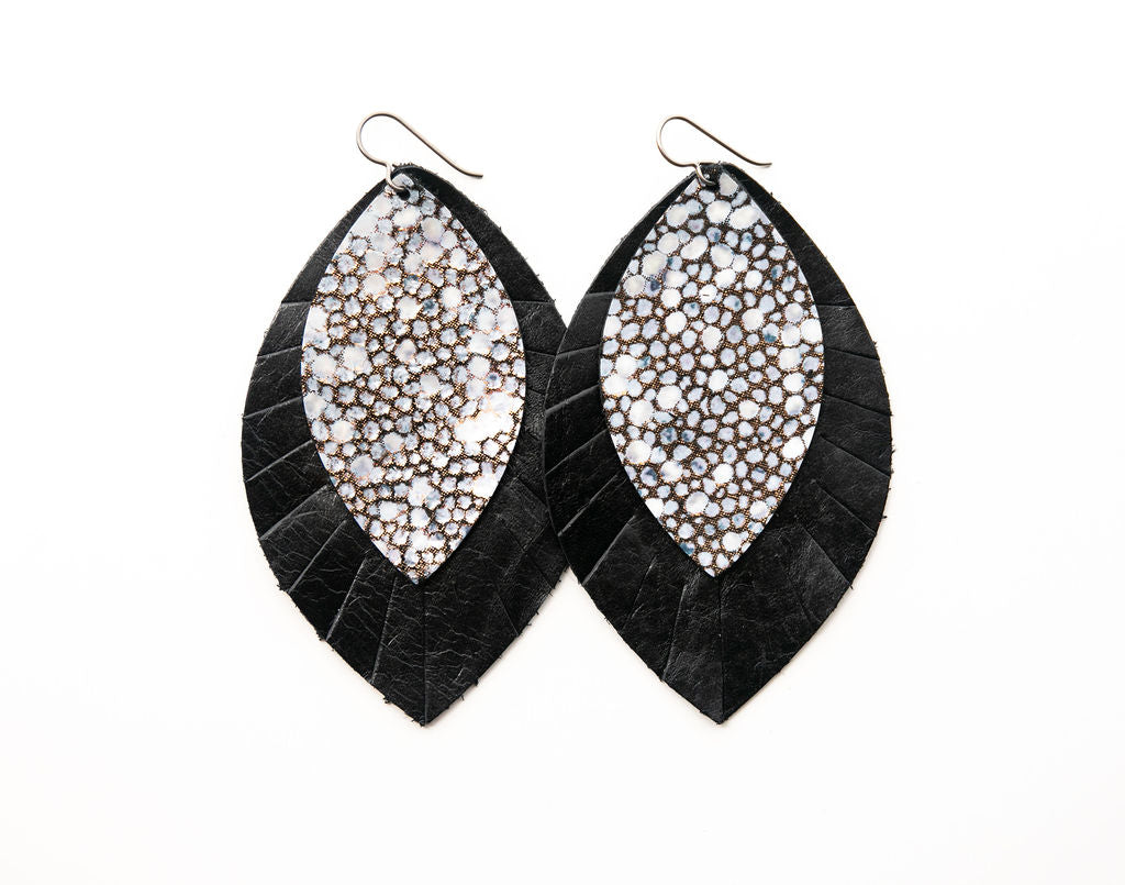 Black Speckled with Black Fringe Base | Double Layer Leather Earring
