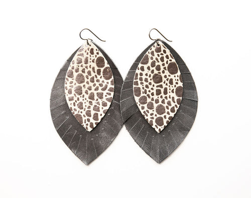 Pebbles in Silver with Gray Fringe Base | Double Layer Leather Earring