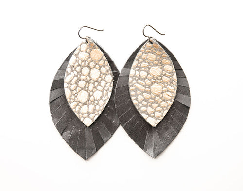 Pebbles in Platinum with Gray Fringe Base | Double Layer Leather Earring