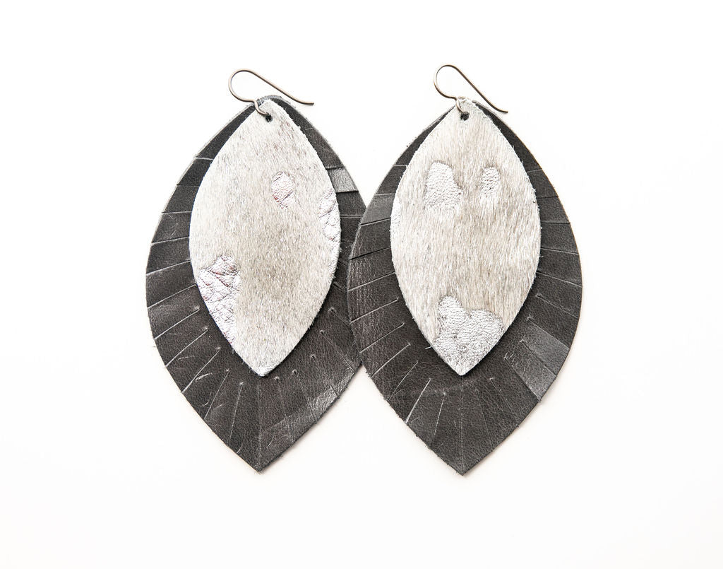 Silver Foil with Gray Fringe Base | Double Layer Leather Earring