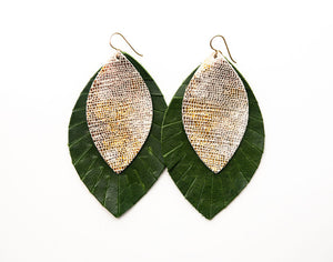 Gold and Bronze Shimmer with Dark Green Fringe Base | Double Layer Leather Earring