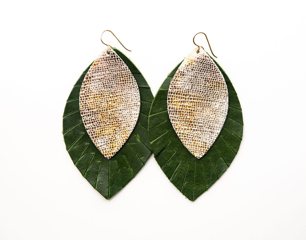 Blend Of Metallic Shimmer with Dark Green Fringe Base | Double Layer Leather Earring