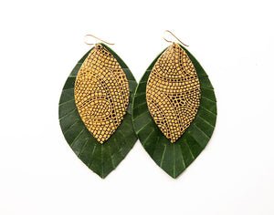 Mosaic Butterscotch and Bronze with Dark Green Fringe Base | Double Layer Leather Earring
