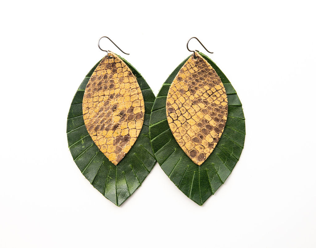 Butterscotch with Dark Green Fringe Base | Double Layer Leather Earring