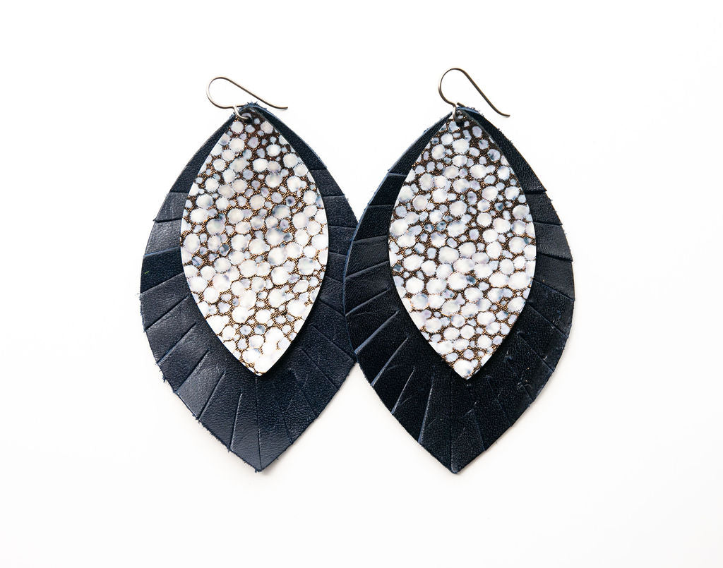 Black on Bronze with Navy Fringe Base | Double Layer Leather Earring