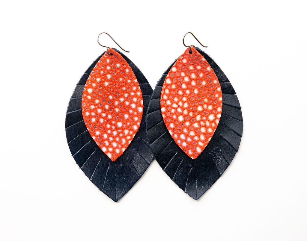 Coral Speckled with Navy Fringe Base | Double Layer Leather Earring