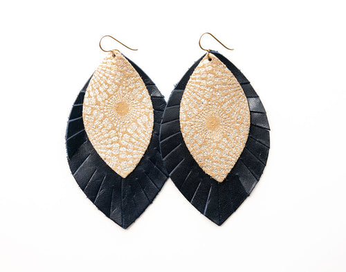 Starburst Gold with Navy Fringe Base | Double Layer Leather Earring