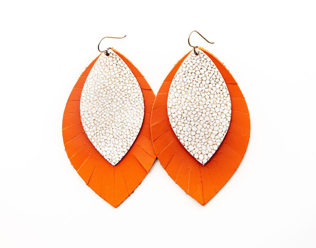 White and Gold Speckled with Orange Fringe Base | Double Layer Leather Earring