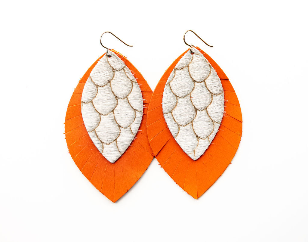 Scalloped in Taupe and Cream with Orange Fringe Base | Double Layer Leather Earring