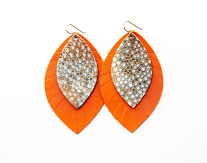 Gold with Blue Speckled with Orange Fringe Base | Double Layer Leather Earring