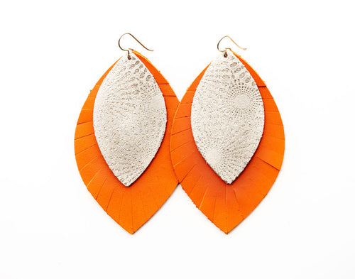 Starburst Platinum with Orange Fringe Base | Double Layer Leather Earring