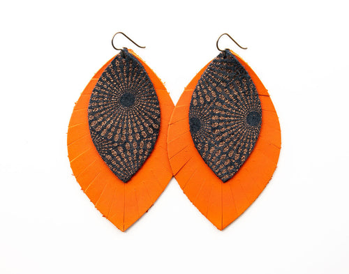 Starburst Blue and Bronze with Orange Fringe Base | Double Layer Leather Earring
