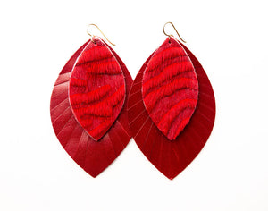 Viva Red on Red Fringe Base | Double Layer Leather Earring