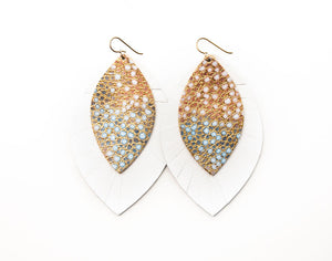 Gold with Blue Speckled with White Fringe Base | Double Layer Leather Earring