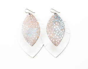 Silver Speckled with White Fringe Base | Double Layer Leather Earring