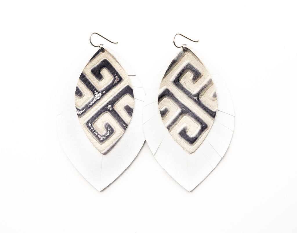 Greek Key with White Fringe Base | Double Layer Leather Earring