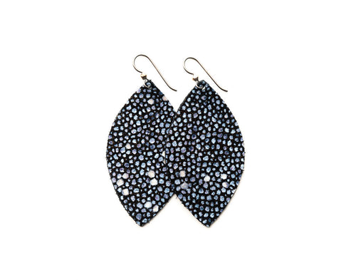 Blue Speckled Leather Earrings
