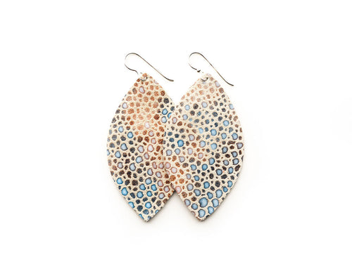 Multi Color Speckled on Cream Leather Earrings
