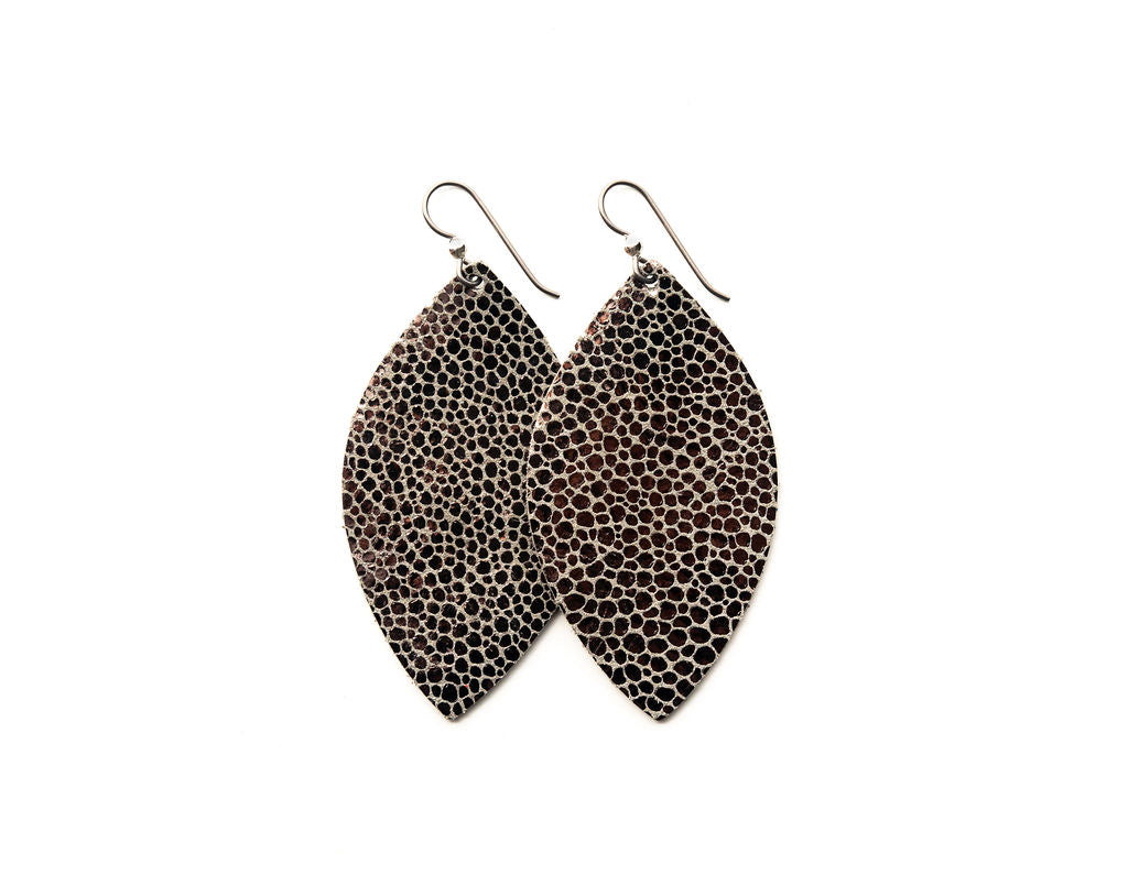 Anthracite Speckled Leather Earrings