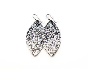 White on Black and Bronze Speckled Leather Earrings