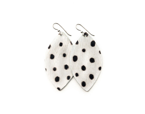 Spotted in Black Leather Earrings