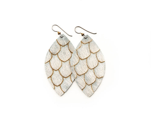 Scalloped in Taupe and Cream Leather Earrings