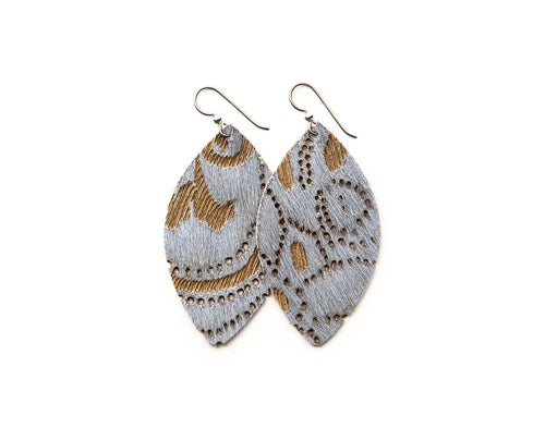 Grey Lace Leather Earrings