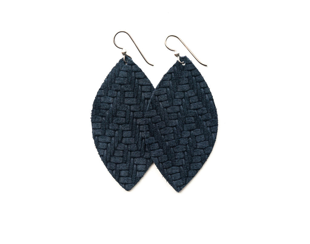 Navy Chevron Leather Earrings