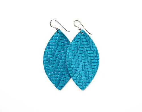 Sea Blue Chevron Leather Earrings