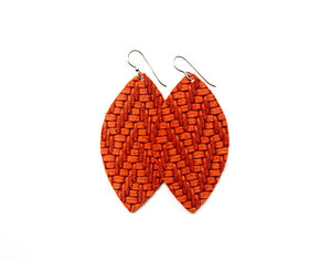 Coral Chevron Leather Earrings