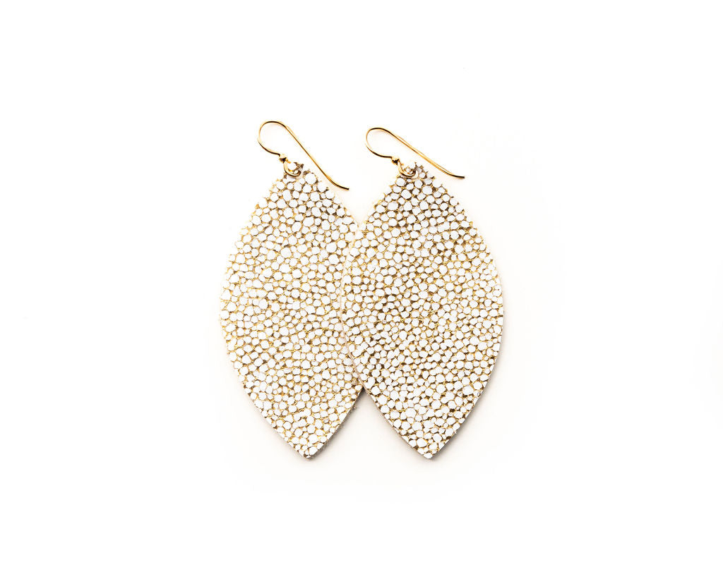 White and Gold Speckled Leather Earrings