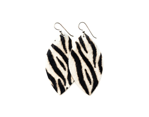 Zebra Black and White Leather Earrings