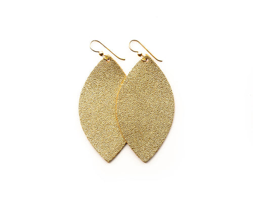 Gold Shimmer Leather Earrings