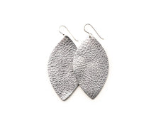 Load image into Gallery viewer, Silver Shimmer Leather Earrings