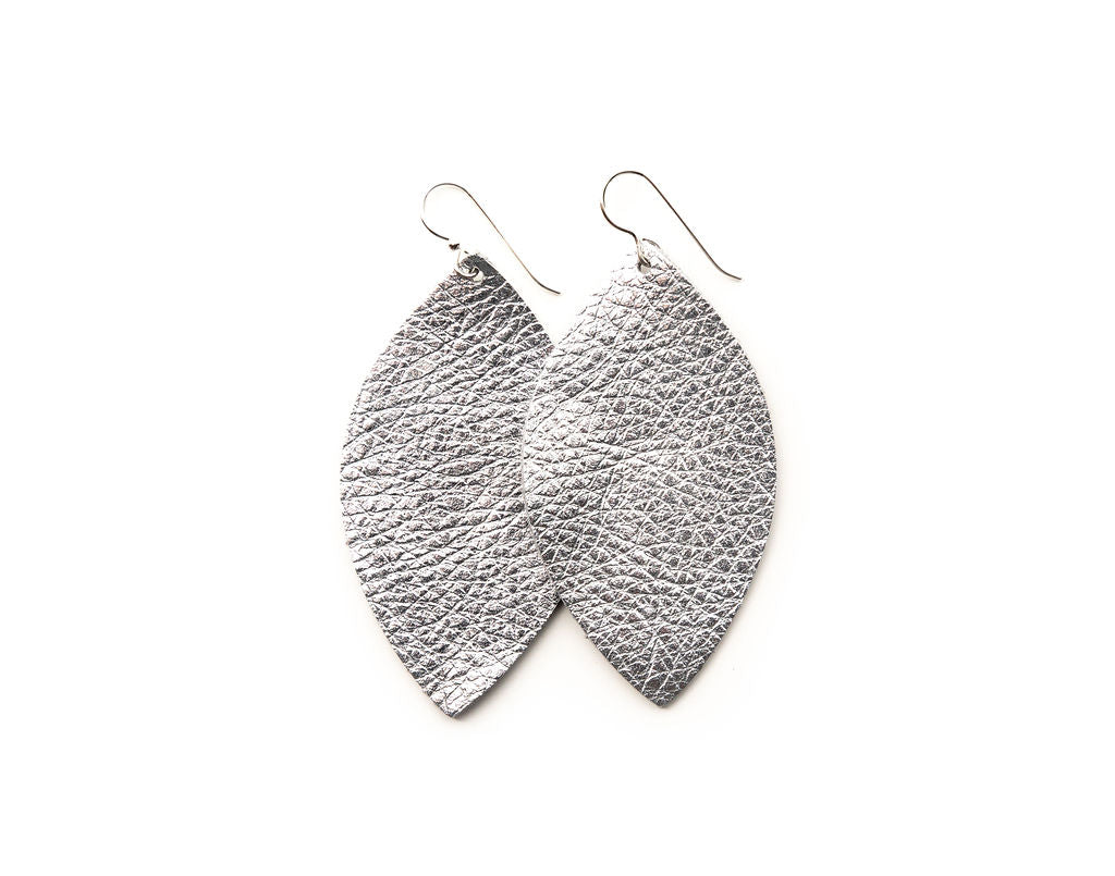Silver Shimmer Leather Earrings