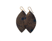 Load image into Gallery viewer, Blue and Bronze Starburst Leather Earrings