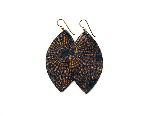 Blue and Bronze Starburst Leather Earrings