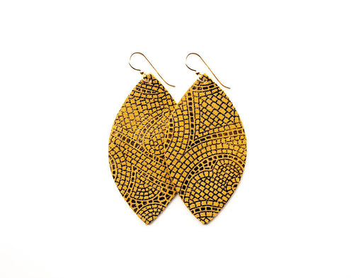 Butterscotch and Bronze Mosaic Leather Earrings